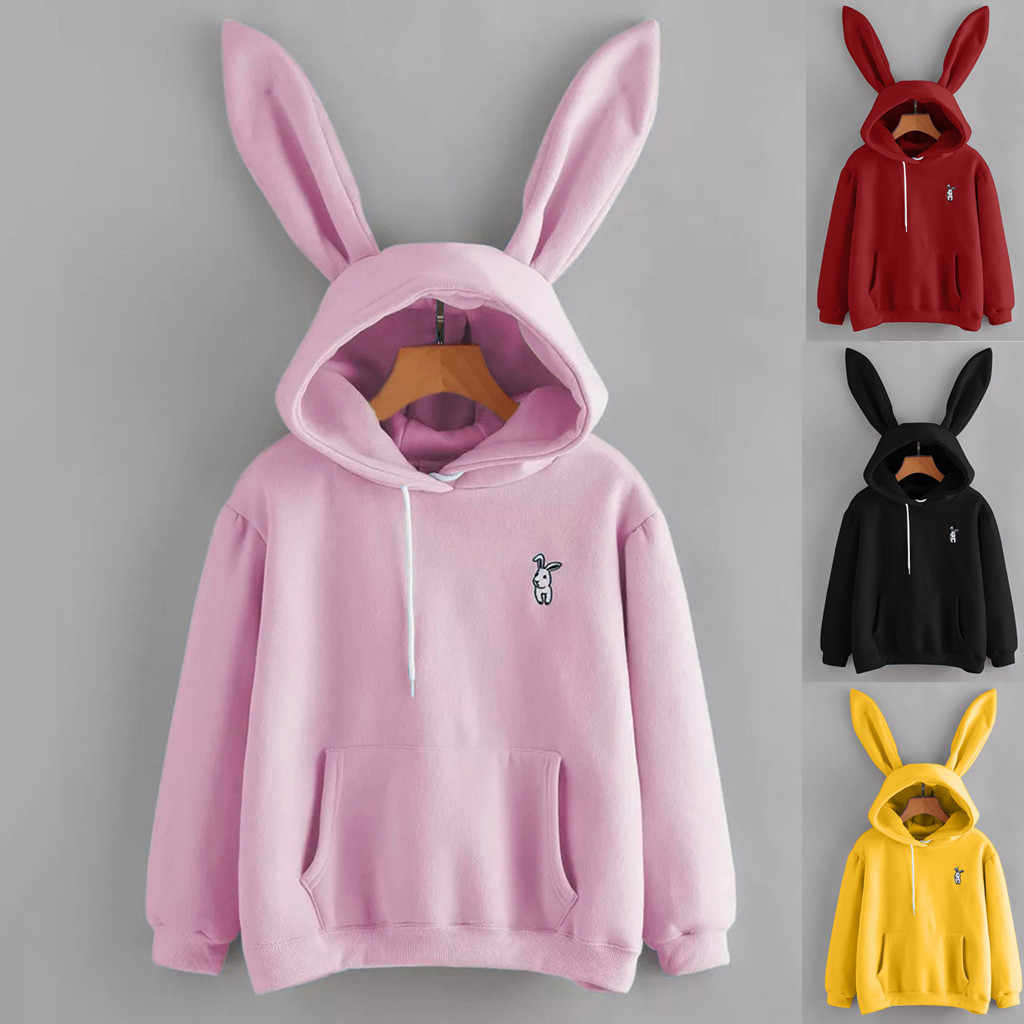 Womens Pullover Rabbit Ear Long Sleeve Hoodies Girl Sweatshirt Autumn Winter Cotton Hooded Coat Lovely Female Bunny Hoodies d1