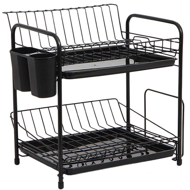 Dish Rack Set 2 Tier Kitchen Organizer Tools Plate Spoon Storage Frame Steel Drain Bowl Rack Kitchen Dish Shelf