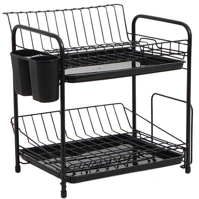Dish Rack Set 2-Tier Kitchen Organizer Tools Plate Spoon Storage Frame Steel Drain Bowl Rack Kitchen Dish Shelf