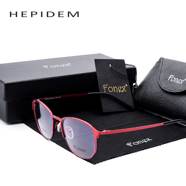 2017 Hot High Quality Brand Designer Sun Glasses for Women Optical Frames Titanium Round Eyeglasses Full Eyewear Red/Pink Frame
