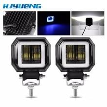 2PCS 3Inch 12V 24V 6500K 40W Waterproof Square LED Angel Eyes Light Bar Offroad Car Boat led Work Light