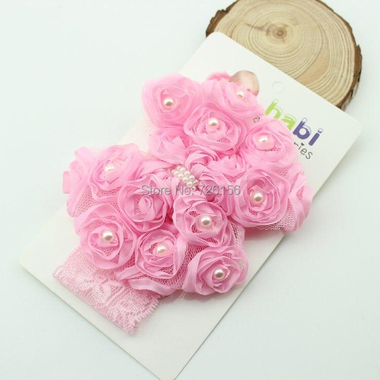 120 copë / shumë vajzë bukuroshe me perla e trëndafilave u rrit lule me bebe të gjerë me dantella shirita Prapambetje Foto