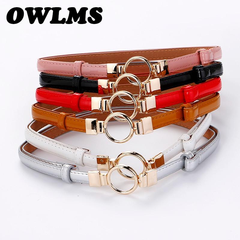 Belts For Women Dress Button Adjustable Cummerbund Thin Cummerbunds Woman Fashion Decorative PU Leather Gold Circle Buckle Gifts