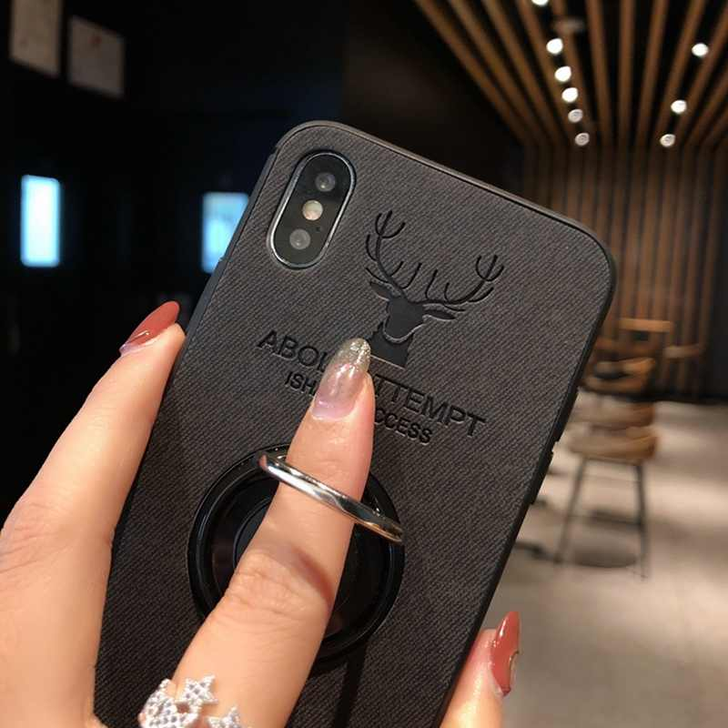 separation shoes 2b415 12572 Cloth Deer Retro Case For iphone 6 s 6s Plus iphone 8 7 Plus Finger Ring  Magnetic Cover For iphone XS MAX iphone X 10 XR Cases