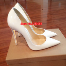Free shipping fashion women Pumps white patent leather sexy lady Pointy toe high heels shoes size33-43 12cm 10cm 8cm party