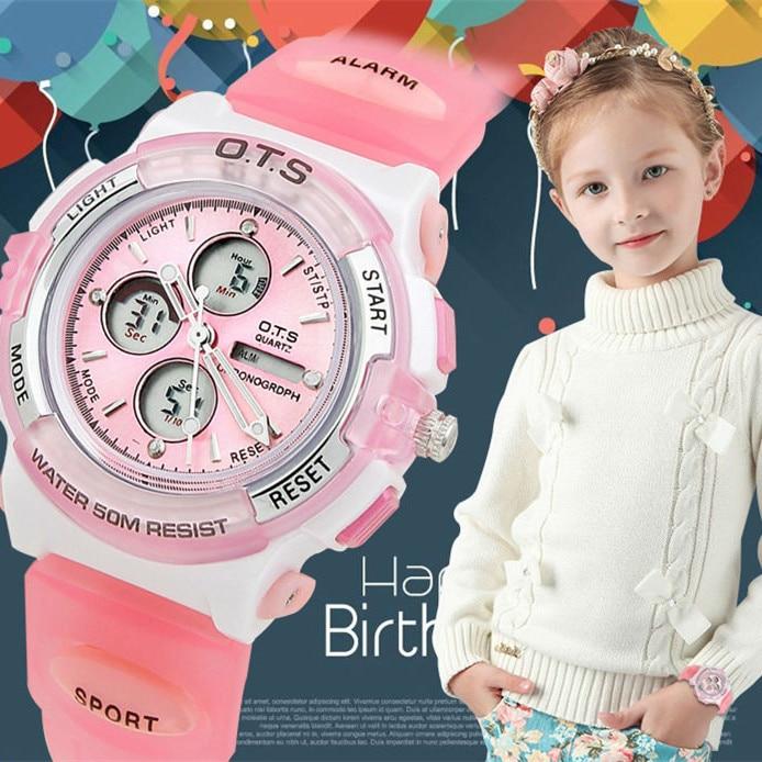 OTS LED Digital Kids Children watches fashion waterproof Children's quartz watch for girls students montres femme Clock watch hoska hd030b children quartz digital watch