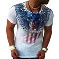 Новый мужская футболка 2016 лето объявления мода череп печатные свободного покроя человека тонкий Fit с коротким рукавом мужская одежда Camisetas