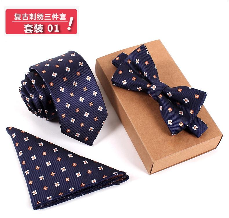 2016 m. Naujas 3 rinkiniai Vyrai lanko kaklaraištis ir nosinės rinkinys Bowtie plonas kaklaraištis Cravate Homme Noeud Papillon Man Corbatas Hombre Pajaritas