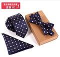 2016 nueva 3 sets Hombres Pajarita y Pañuelo Conjunto Bowtie Delgado Corbata Cravate Homme Noeud Papillon Hombre Corbatas Hombre Pajaritas