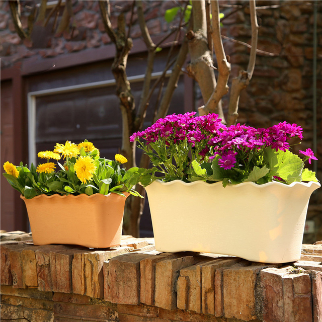 Rectangular Plastic Flower Pot Wave Ruffled Flower Durable Trough Holder Hanging Basket Office Home Garden Balcony Decoration
