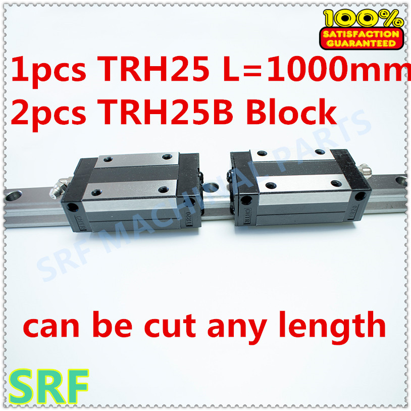 New Linear Guide 1pcs TRH25 Length=1000mm Linear guide rail+2pcs TRH25B linear slide block for CNC part