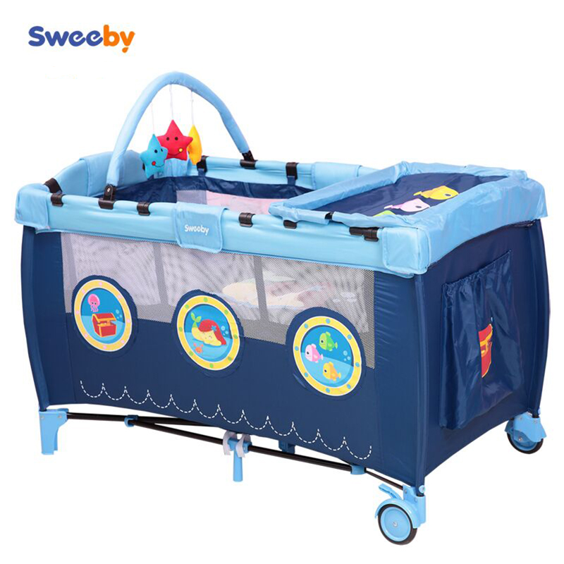 Baby Beds Rushed Real En Sor Trolley Metal 2016 Eco-friendly Multifunctional Folding Baby Crib Infant Bed Playpen Sleep Game