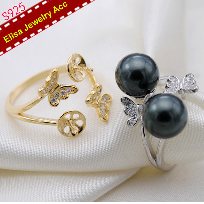 Two Butterflies Pearl Rings Fittings S925 Sterling Silver Butterfly Pearl Rings Components Adjustable Pearl Rings Acc