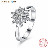 Classic 925 Sterling Silver Engagement Ring With Big CZ Crystal Lotus Finger Rings For Women Fashion