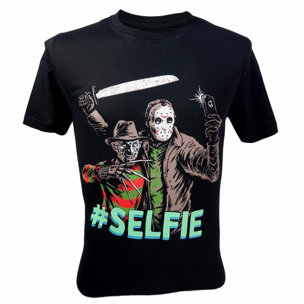 Formal Shirts Short Sleeve Men Zomer Mens Freddy Krueger Vs Jason 13Th Friday #Selfie T-Shirt Black O-Neck T Shirts