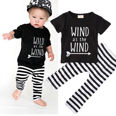 2016 Kid Baby Girl Boy Clothes Tops T-shirt+Pants Outfits Set Tracksuit Bodysuit