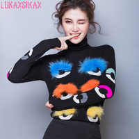 2018 New Autumn Winter Women Sweater High Quality Designer Colorful Hairball Eyes Runway Sweater Warm Turtleneck Pullover