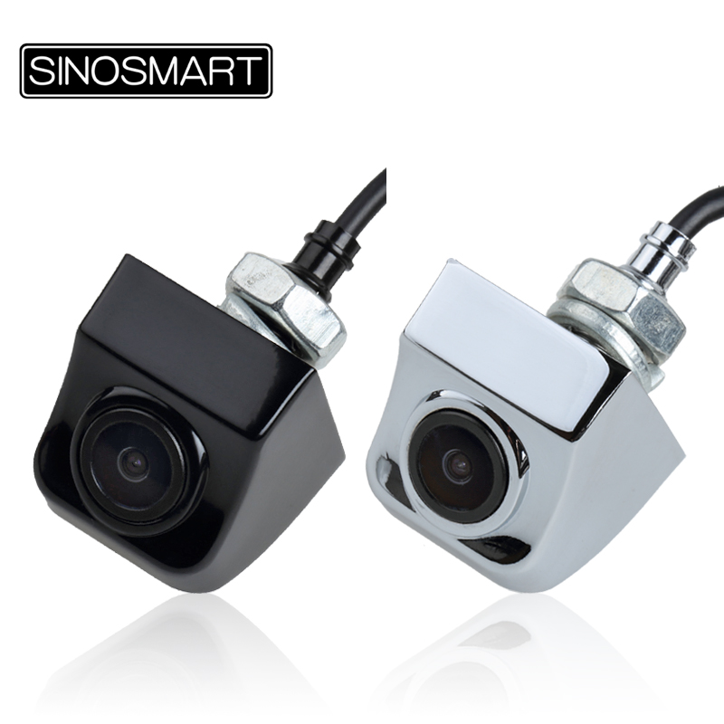 SINOSMART Universal Front / Rear View Revering Parking Camera For Car/SUV/Truck DC 5V-28V Input Stainless Metal Chrome Black