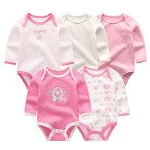 5 יח\חבילה newbron 2018 חורף ארוך שרוול תינוקת ompers כותנה סט תינוק סרבל בנות roupa דה bebe תינוק ילד בגדים