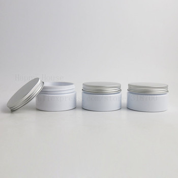 50 x  100g Heavy Wall White Facial Hand Body Cream Cosmetic Plastic Jars with Pet Seal Aluminum Lid 100 ml Empty PET Container