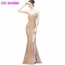 Сверкающее блестящее официальное вечернее платье cx с блестками