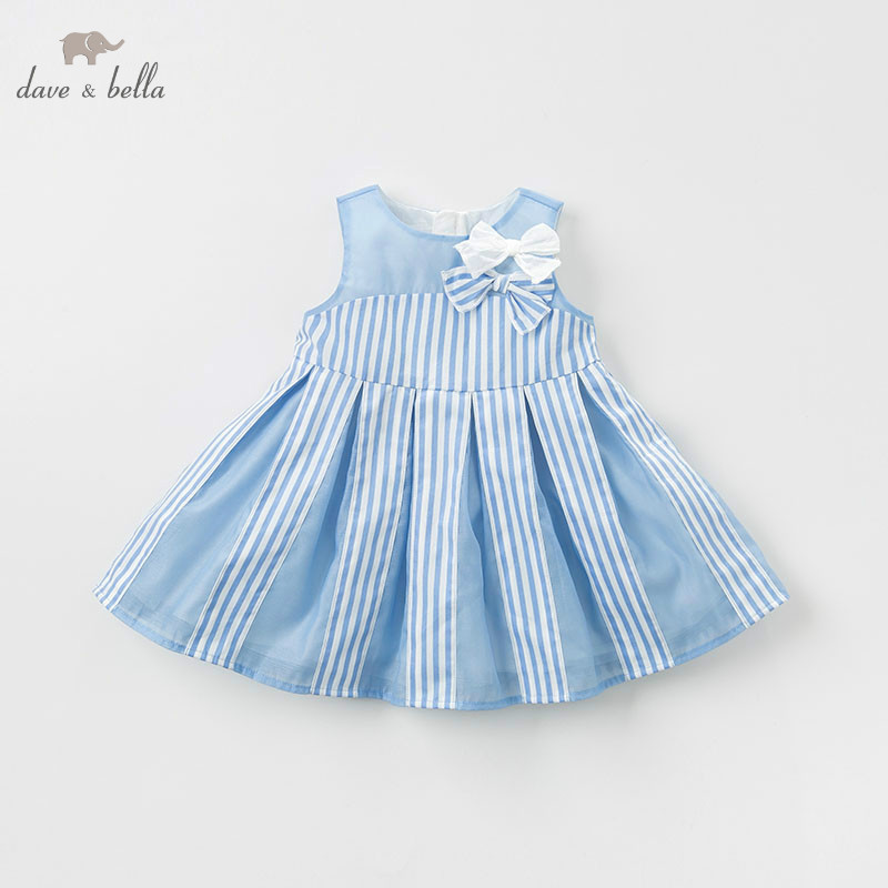 DB10236 dave bella summer baby girl striped clothes children birthday party wedding dress kids sleeveless boutique