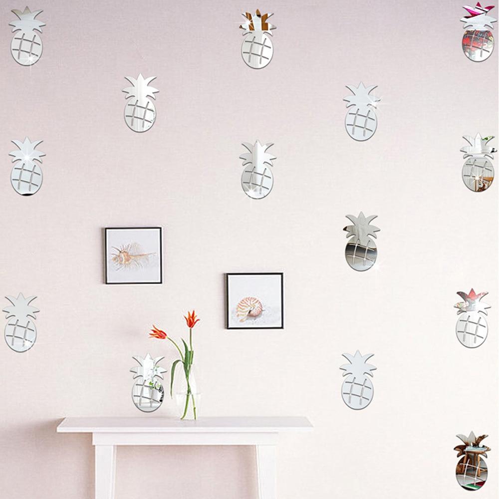 12PCS Silver Plastic Mirror Wall Stickers Pineapple Decor Home Room Office Decoration 3D DIY decorativos para paredes