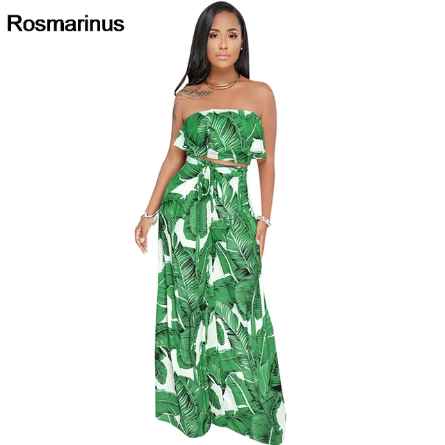 6c354dbb6e Strapless Backless Sexy Jumpsuit Clubwear Women Summer Palm Leaf Print  Romper Women Two Pieces Crop Boho Long Playsuit Overalls