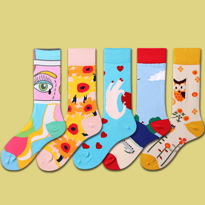 PEONFLY New 2019 Autumn Women Socks Funny Colorful Abstract Pattern Heart Eyes Combed Cotton Sokken Casual Calcetines Mujer