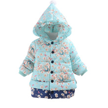 Children Coat Winter Girls Print Coats Warm Girl Outerwear Fleece Cotton Jacket Kids Hooded Collar