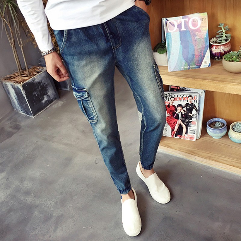 Brand New Men Jeans Fashion 2017 Slim Fit Plus Size Solid Jeans Men Spring Side Pocket Design Denim Mens Joggers Hot Trousers men s cowboy jeans fashion blue jeans pant men plus sizes regular slim fit denim jean pants male high quality brand jeans