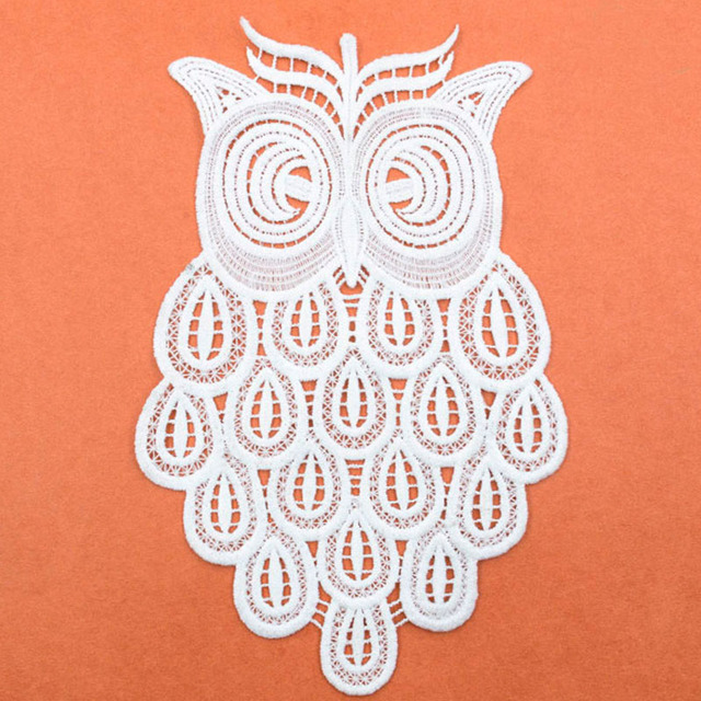 1 Piece Beautiful Off White Embroidered Owl Pattern Lace Neckline ...