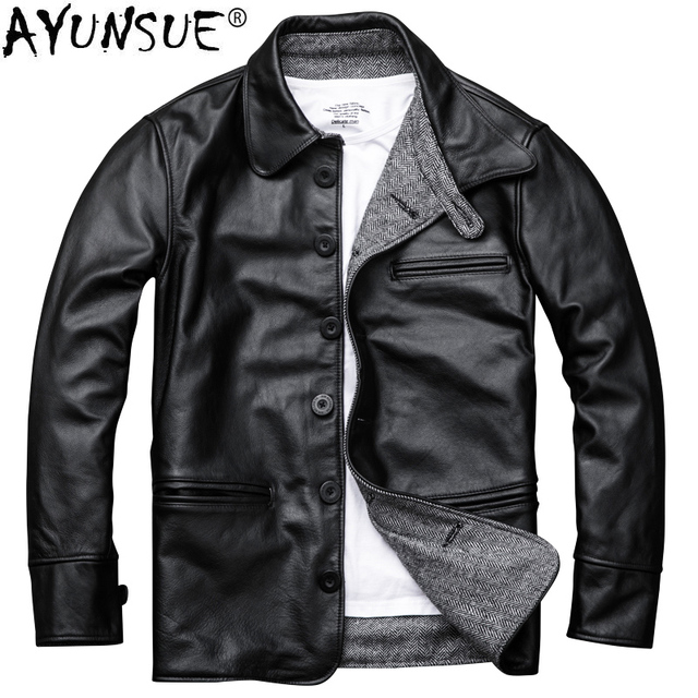 fac6bfcac87 AYUNSUE Genuine Leather Jacket Men Autumn Cowhide Coat Short Slim Men s Cow Leather  Jackets 2018 Chaqueta Cuero Hombre KJ1126