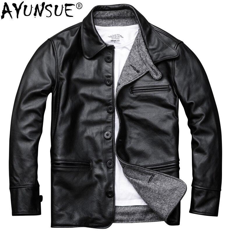 AYUNSUE Genuine Leather Jacket Men Autumn Cowhide Coat Short Slim Men's Cow Leather Jackets 2019 Chaqueta Cuero Hombre KJ1126