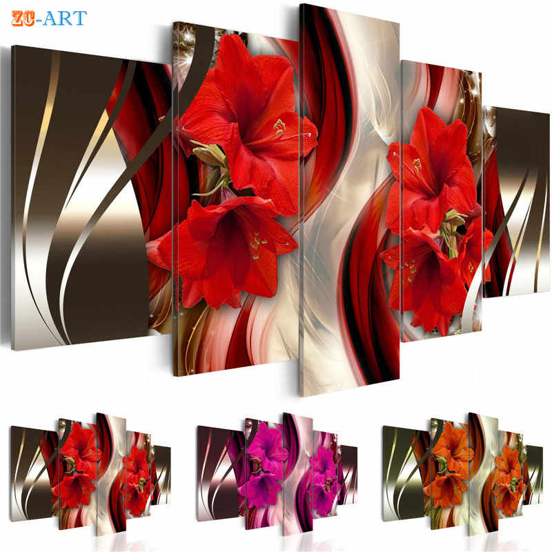 Red Lilies Blossom Print Wall Art 5 Pieces Orange and Purple Flowers Poster Modern Canvas Painting  Home Decor Gift for Her