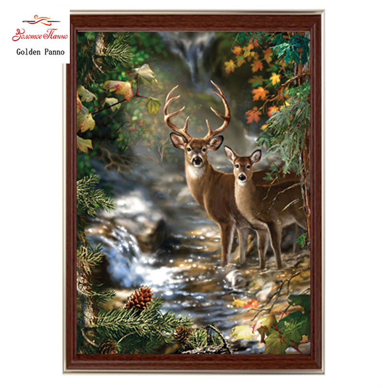 Golden Panno,Needlework,DIY DMC Cross Stitch,Sets For Embroidery Kit 14ct Unprinted Cotton Thread Deer Creek Cross-Stitching