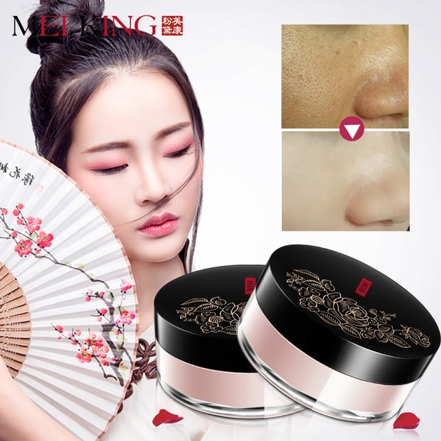 MEIKING Rose Plant Powder Oil Control Loose Powder cosmetics compact Whitening Brighten Skin Tone Makeup setting mineral powder