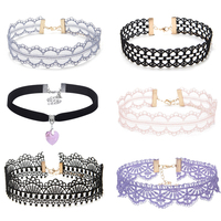 6 Pcs Chokers Set Women Collar Necklace Black Pink Lace Chokers Special Design Necklaces Hollow Out Women Jewelry Bohemia ZH21