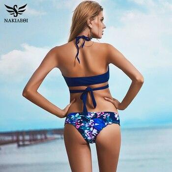 NAKIAEOI 2018 Sexy Cross Brazilian Bikinis Women Swimwear Swimsuit Push Up Bikini Set Halter Top Beach Bathing Suits Swim Wear 2