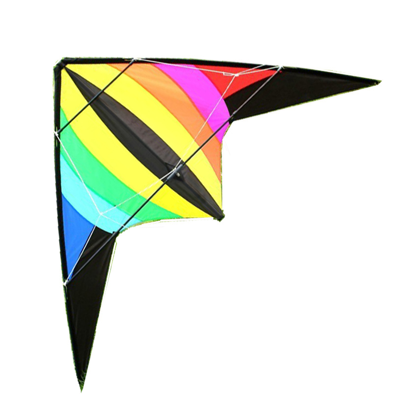 Free Shipping Outdoor Fun Sports 1.8m Power Double Dual Line Rainbow Stunt Kite Flying