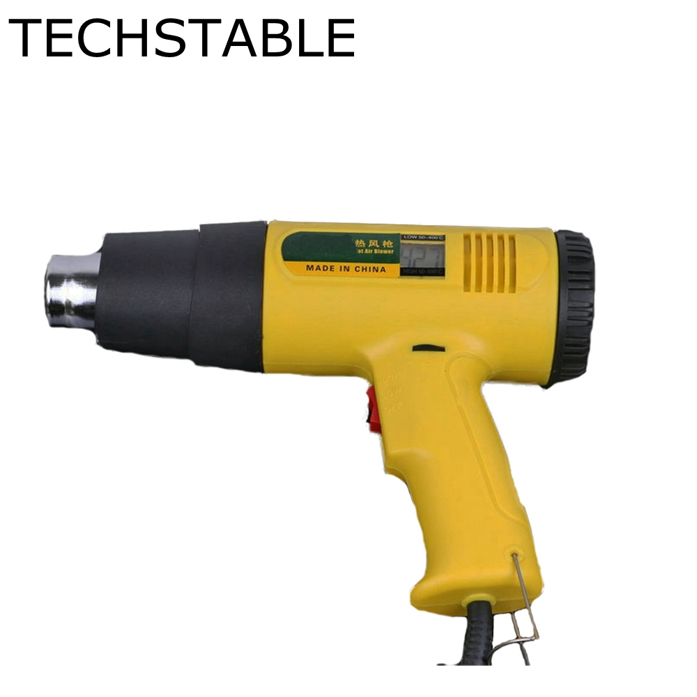 TECHSTABLE 2000W AC220  Digital Electric Hot Air Gun Temperature-controlled Heat Quality Welding Tools Adjustable Temperature 2017 high quality taiwan bao ss 621h digital adjustable warm air gun electric blower proskit plastic welding torch free shipping