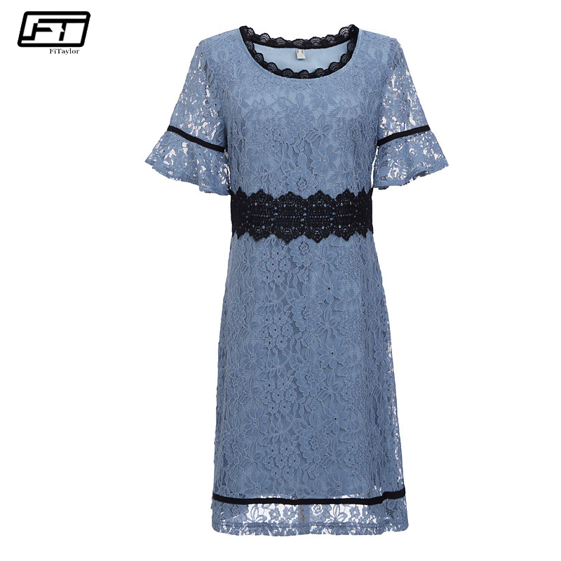 Fitaylor Summer Evening Party Dresses Women Plus Size 5xl Crochet Lace Dress O Neck Short Sleeve Embroidery Floral Sexy Dress ...