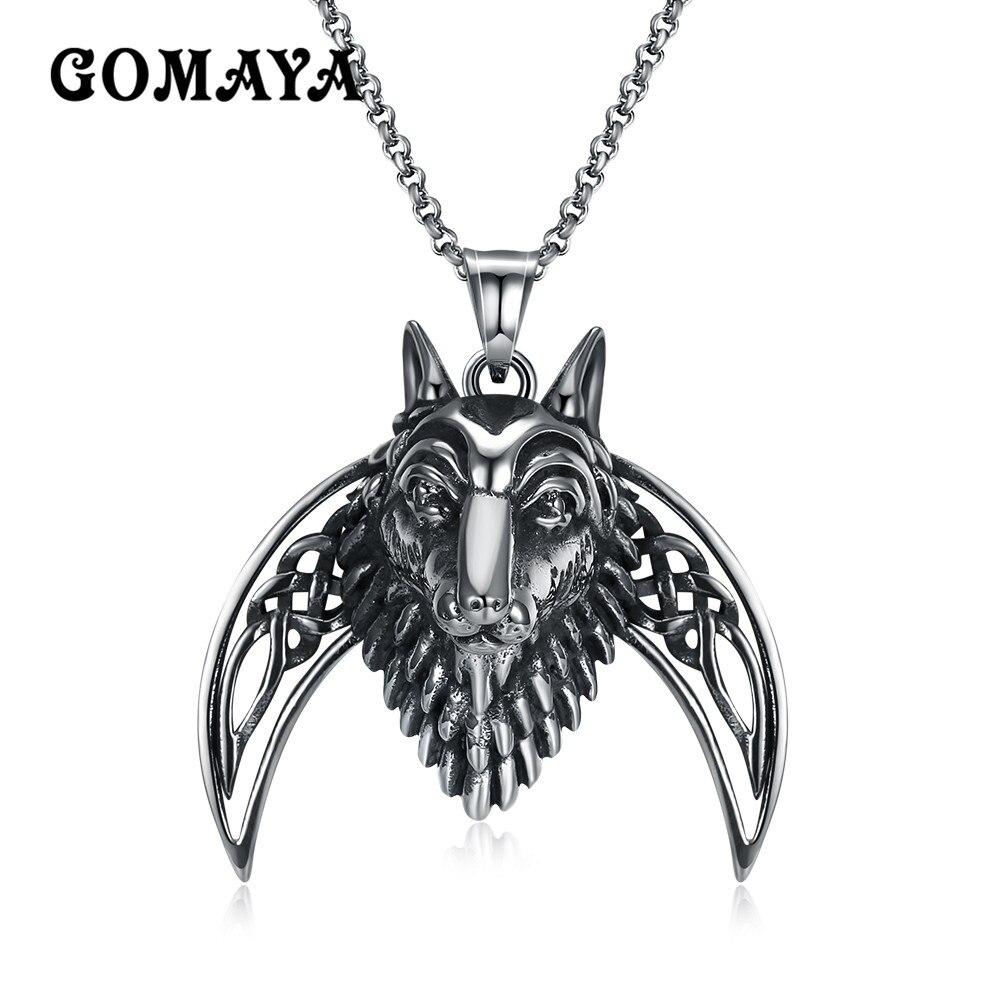 GOMAYA Animal Power Lion Pendant Necklace Titanium Steel Classic Vintage Rock Punk Hip hop Jewelry Gift Colar