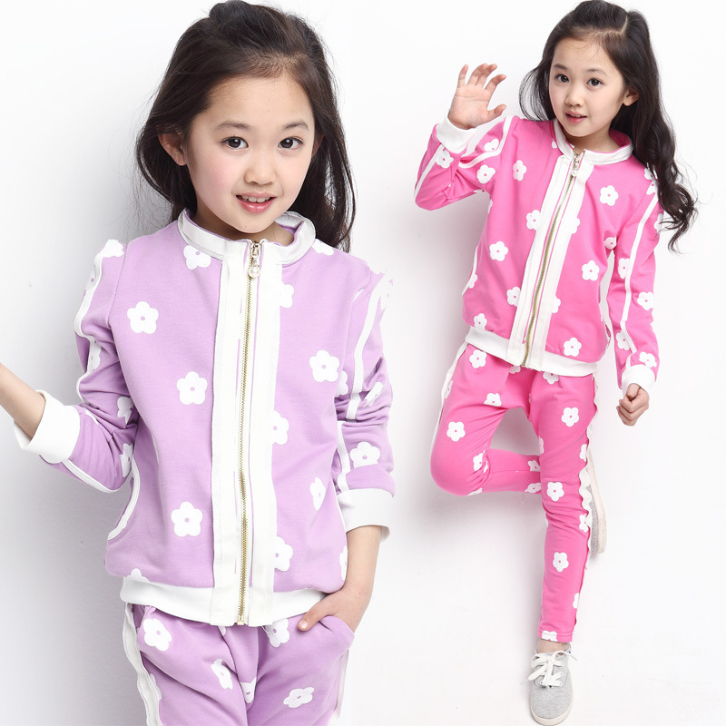 Children clothing 2017 apring autumn new Korean models girls sports suit kids flower long-sleeved coat +pants sets