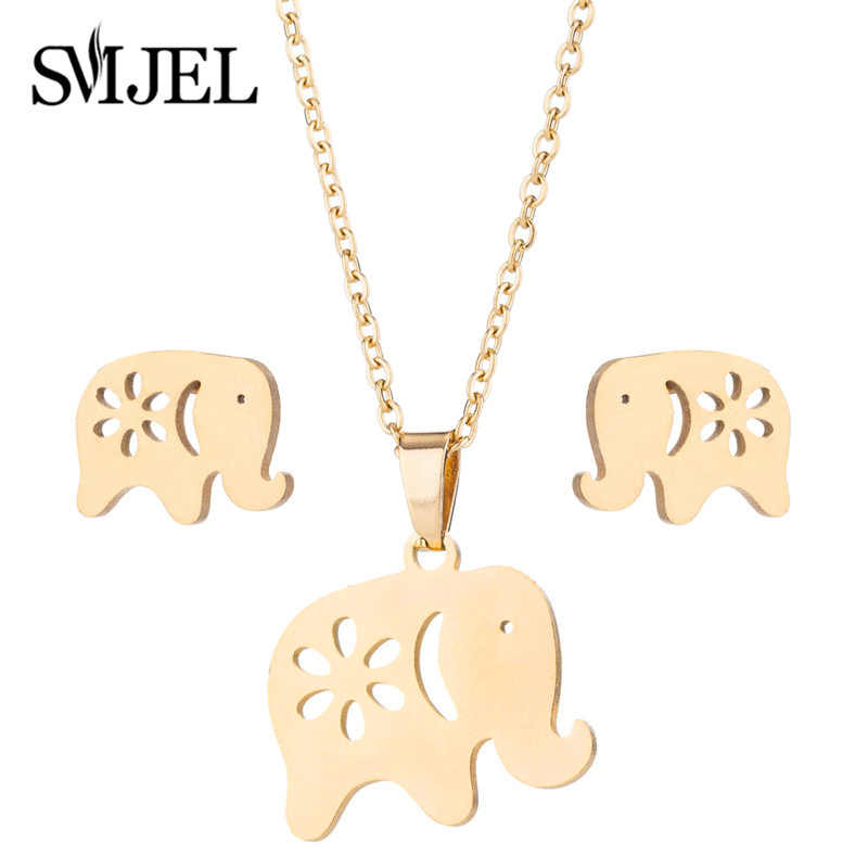 SMJEL Stainless Steel Animal Necklaces for Women Kids Fashion Gold Jewelry Set Elephant Butterfly Cat Necklaces Earings brincos