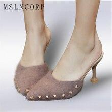 Size 34-43 New fashion pointed toe spring Autumn Summer Flock shoes woman elegant high heels women slippers Pearls rivets slides цены онлайн