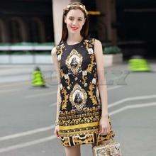 Cuerly High Quality New Fashion Runway Summer Dress Womens Sleeveless Luxury Beading Jacquard Printed Vintage Straight
