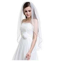 MissRDress Short One Layer Bridal Veil Bead Edge Wedding Veil With Comb White Soft Tulle Lace Veil For Wedding Accessories JKm49