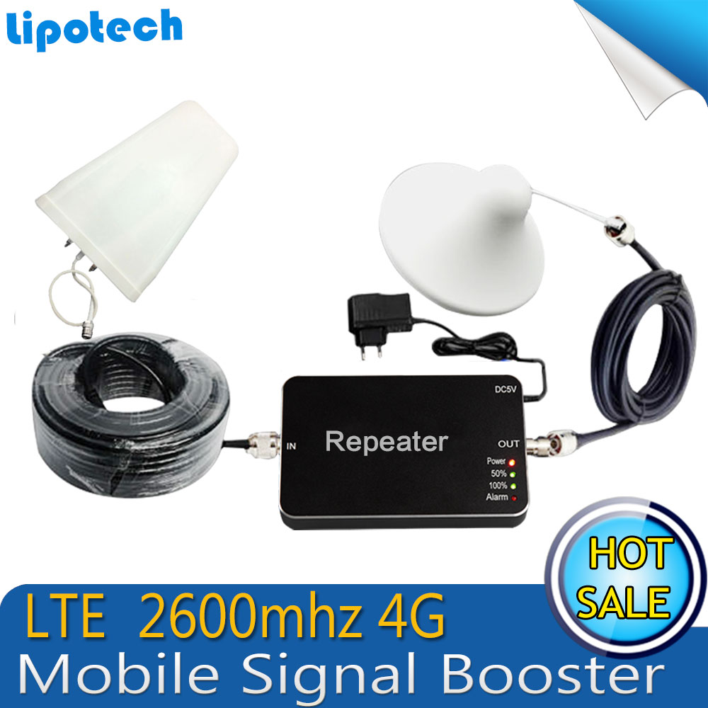Diy Kit FDD LTE 2600mhz 4G Mobile Cell Phone Signal Repeater 65db 20dBm Antenna Booster Amplifier