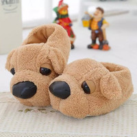 Candice Guo Cute Big Nose Shar Pei Soft Plush Slippers Couple Winter Warm Household Cartoon Blankly